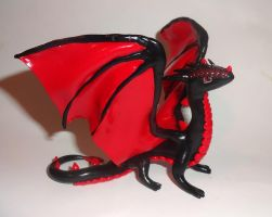 Black and Red Dragon Sculpture by ByToothAndClaw