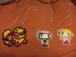 Pearler necklaces (pokemon and cave story) by SwireMau5