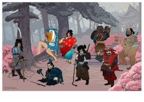 Snowwhite and the 7 samurai WIP by martinplsko