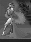 Masked Demoness: Black and White values WIP by Little-Katydid