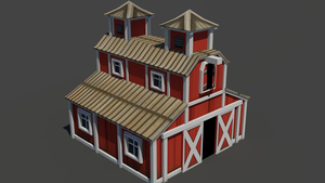Low poly barn by snipeosaurus