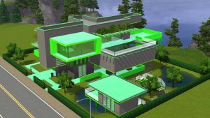 Sims 3 Green minimalist home by RamboRocky