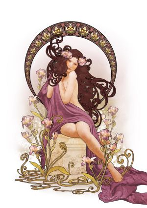 Art Nouveau Iris by CassiopeiaArt
