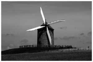Windmill B and W by Leeby