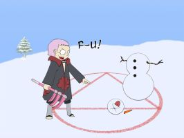 Hidan and the snowman... F-U by thegeekpit