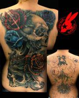 Skull Roses Back Cover Up Tattoo by Jackie Rabbit by jackierabbit12