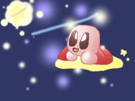 Kirby In His Warpstar by KirbehPeace