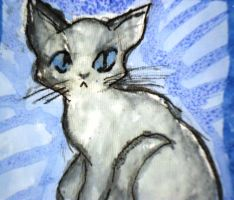Kitty Ink Painting by Jazeki