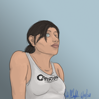 Chell in crappy realism by Wolf-Shadow77
