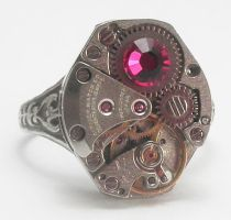 Steampunk Ring with Jewel by SteamDesigns