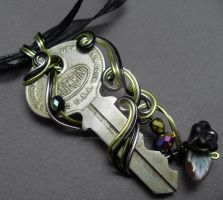 Vintage Key, Black and Green Rose Leaf Necklace by sojourncuriosities