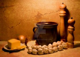 Still life with brown pot by Jablam