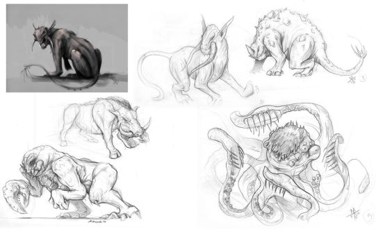 Creaturesketches by RottingShortly