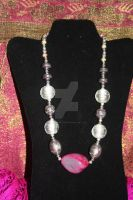 Czech Glass n Agate Stone Tribal Silver Nacklace by BlackUniGryphon