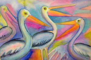 Colourful Pelicans by karincharlotte