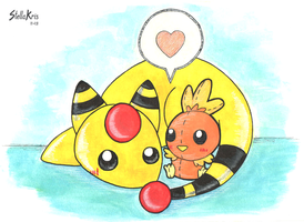 Ampharos and his plushie Torchic by StellaKris