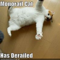Monorail cat has Derailed by DemonSpawn12