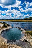 Hot Spring entering the Yellowstone River by JessicaDobbs