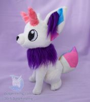 Hexagon Horned Fox Plushie by dollphinwing