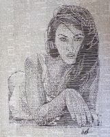 Megan Fox drawing on newspaper by Jarryn