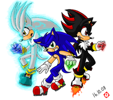 Silver Sonic and Shadow by SneakingSniper