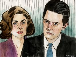 Audrey and Agent Cooper by lawlosaur