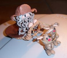 Radagast and Rosghobel rabbits (cernit handmade) by Orikunie