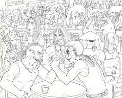 Three Wraith in a Bar... - Outlines by Ganjamira