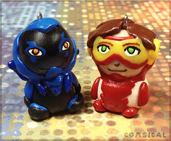 Blue Beetle and Impulse Clay Charms by Comsical
