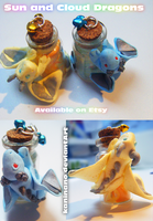 Sun and Cloud dragon bottle charms by Kaninano