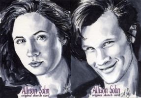 Dr Who  sketch cards grayscale by AllisonSohn