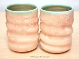 Two pink plum blossom cups by skimlines