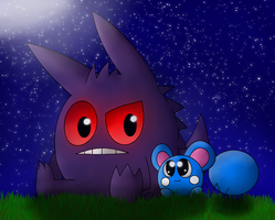 Gengar and Azurill by NazFro24-2