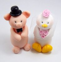 Piglet and Hen Wedding Cake Topper by HeartshapedCreations