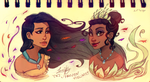 Pocahontas and Tiana: Concept Art by FROZENVIOLINIST