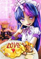mlp Twilight Human maid and Pinkie Pie Omurice by skyshek