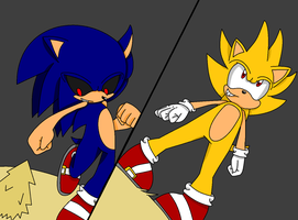 Super Sonic VS. Sonic.exe - A Clash in Hill Zone by MephistaTheDark