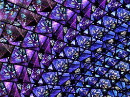 Blue and Purple Stained Glass Fractal by KirstenStar