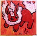 white flame flareon with big paws by JillyFoo