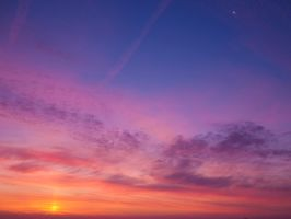 Sunrise with moon by RemiroQuai