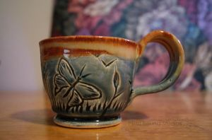 Blue Butterfly Themed Ceramic Mug by ashynekosan