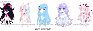 Monster girl Adoptables 3 - CLOSED by terukyu