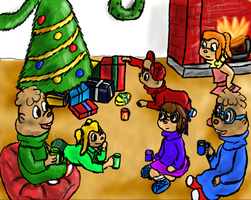 Chipmunks on Christmas morning by Colliequest