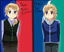 Hetalia OC: Paris and Ottawa by YuriWolfy