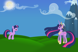 Twilight Sparkle and Princess Sparkle wallpaper by Lampknapp