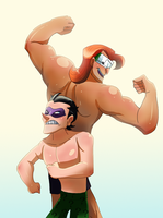 Riddler and music meister muscle flexing by pink-ninja