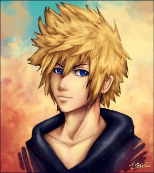 Roxas _ Red like sunset by Roxaoleen