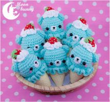 Crochet ice cream baby bears Charm By Moonbunny by CuteMoonbunny