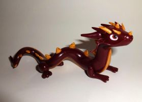 Maroon Chinese Dragon by ByToothAndClaw