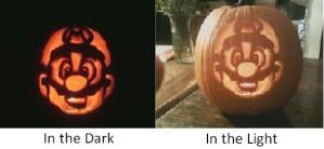 Mario Pumpkin: In Light + Dark by LightingUpTheStars